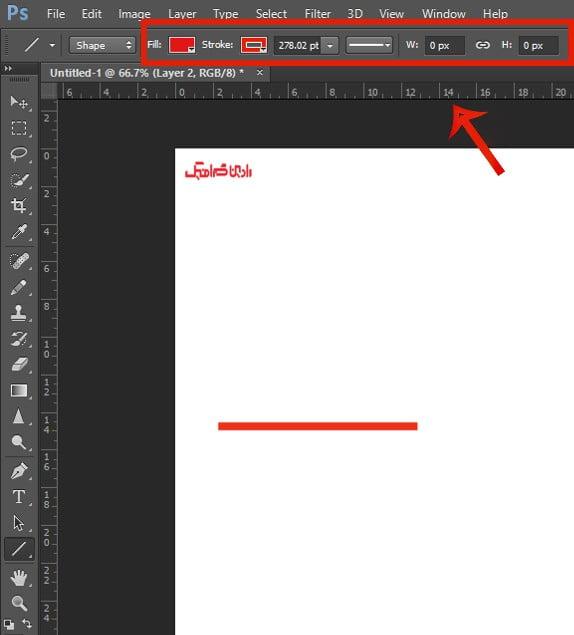 تنظیمات کشیدن خط در فتوشاپ