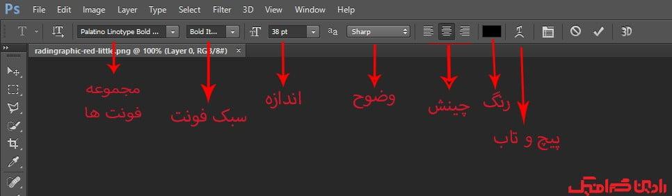 تنظیمات نوشتن متن روی عکس